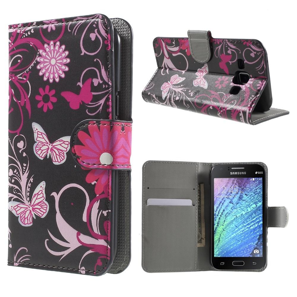 Billede af Samsung Galaxy J1 Design Flip Cover m. Stand - Butterfly Flowers