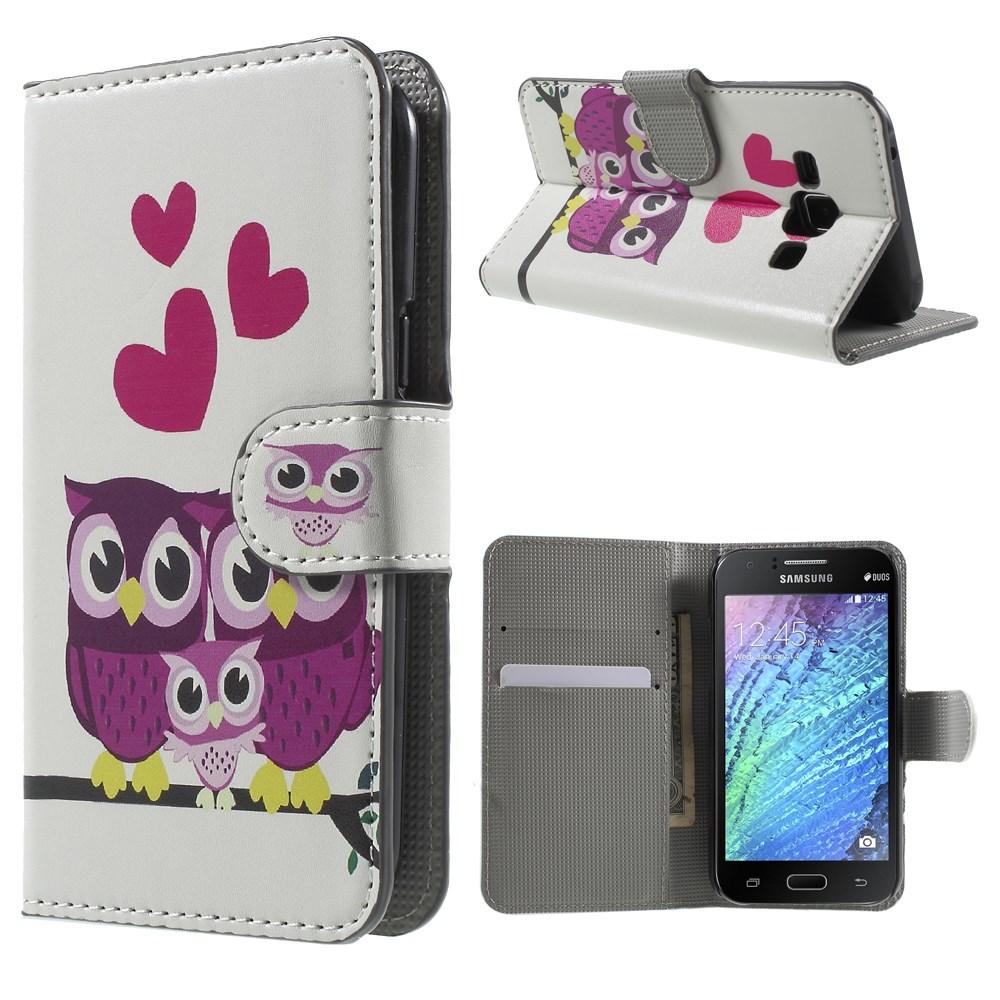 Billede af Samsung Galaxy J1 Design Flip Cover m. Stand - Owls