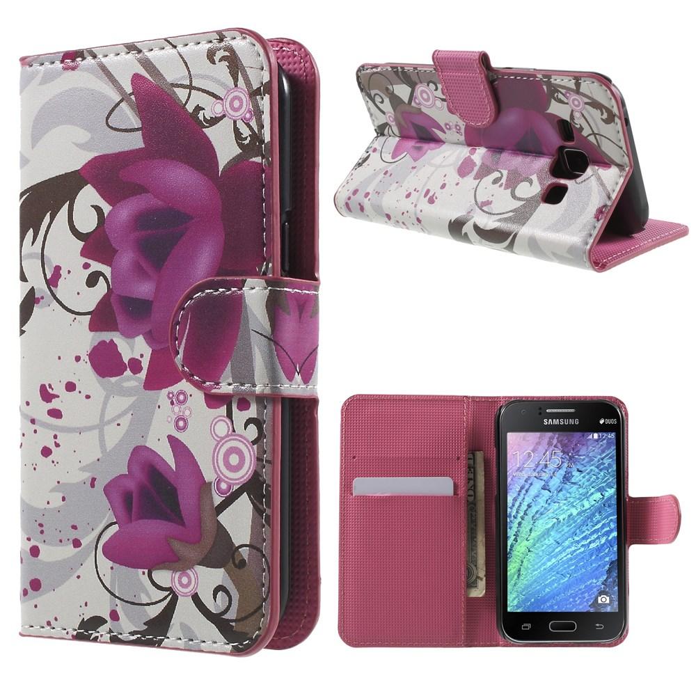 Billede af Samsung Galaxy J1 Design Flip Cover m. Stand - Lotus Flower