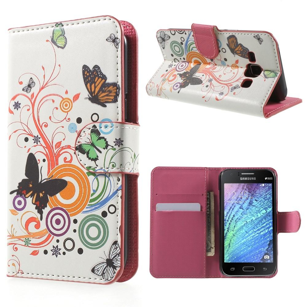 Billede af Samsung Galaxy J1 Design Flip Cover m. Stand - Butterfly Circles