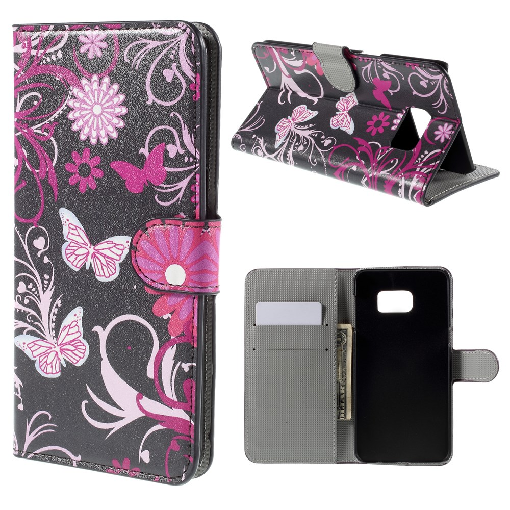 Image of   Samsung Galaxy S6 Edge Plus Smart Flip Cover m. Pung - Purple Butterlies