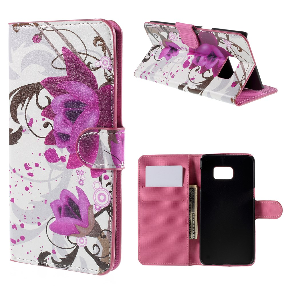 Image of   Samsung Galaxy S6 Edge Plus Smart Flip Cover m. Pung - Kapok Flowers