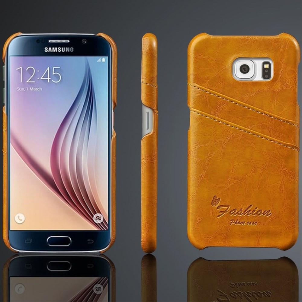 Billede af Samsung Galaxy S6 Slim Lædercover m. Kortholder - Lys Brun