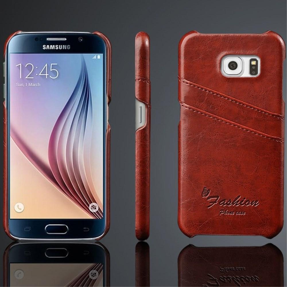 Billede af Samsung Galaxy S6 Slim Lædercover m. Kortholder - Brun