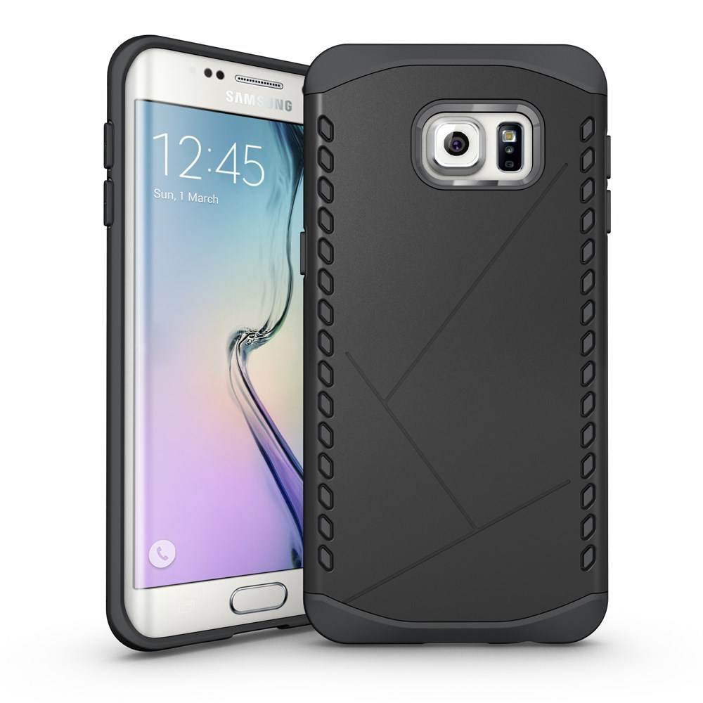 Image of   Samsung Galaxy S6 Edge Plus Hybrid TPU/Plastik Beskyttelses Cover - Sort
