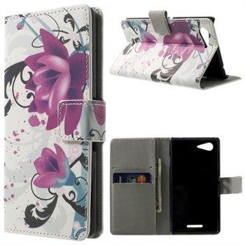 Billede af Sony Xperia E3 Design Flip Cover Med Pung - Lotus Flower