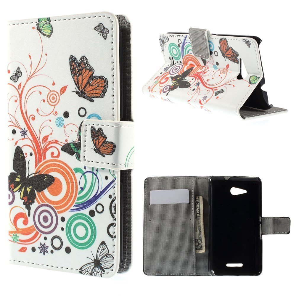 Billede af Sony Xperia E4g Design Flip Cover m. Stand - Butterflies & Circles