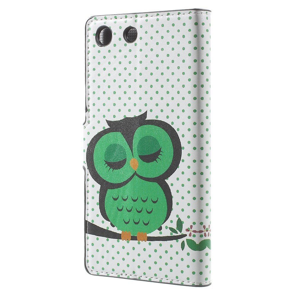 Image of   Sony Xperia M5 Design Læder Flip Cover m. kortholder - Green napping owl