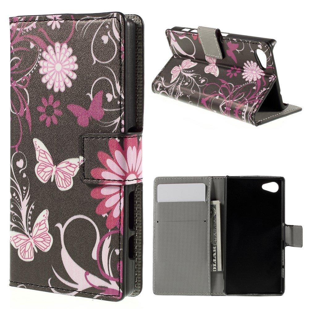 Billede af Sony Xperia Z5 Compact Design Flip Cover m. Pung - Butterfly Flower