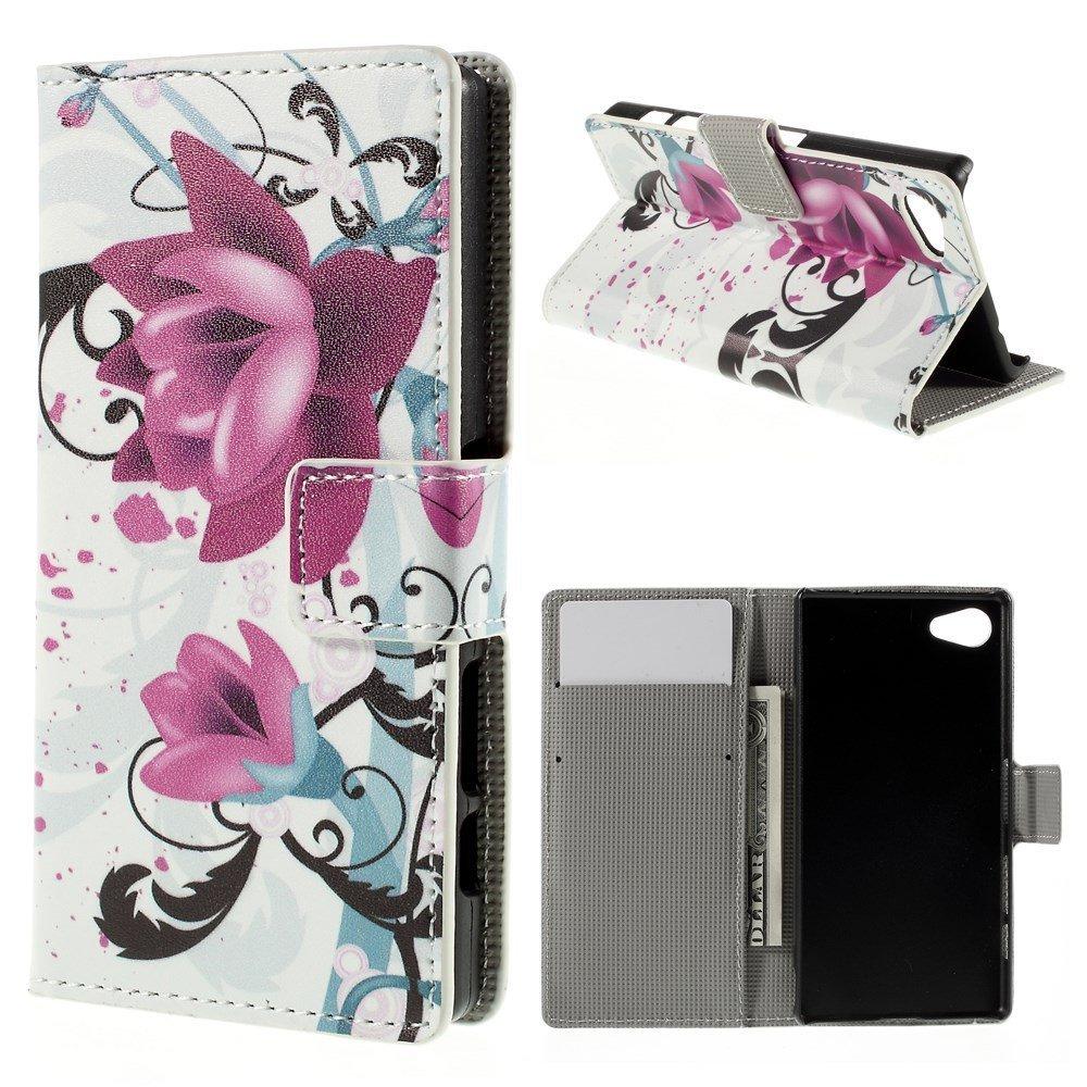 Billede af Sony Xperia Z5 Compact Design Flip Cover m. Pung - Purple Flower