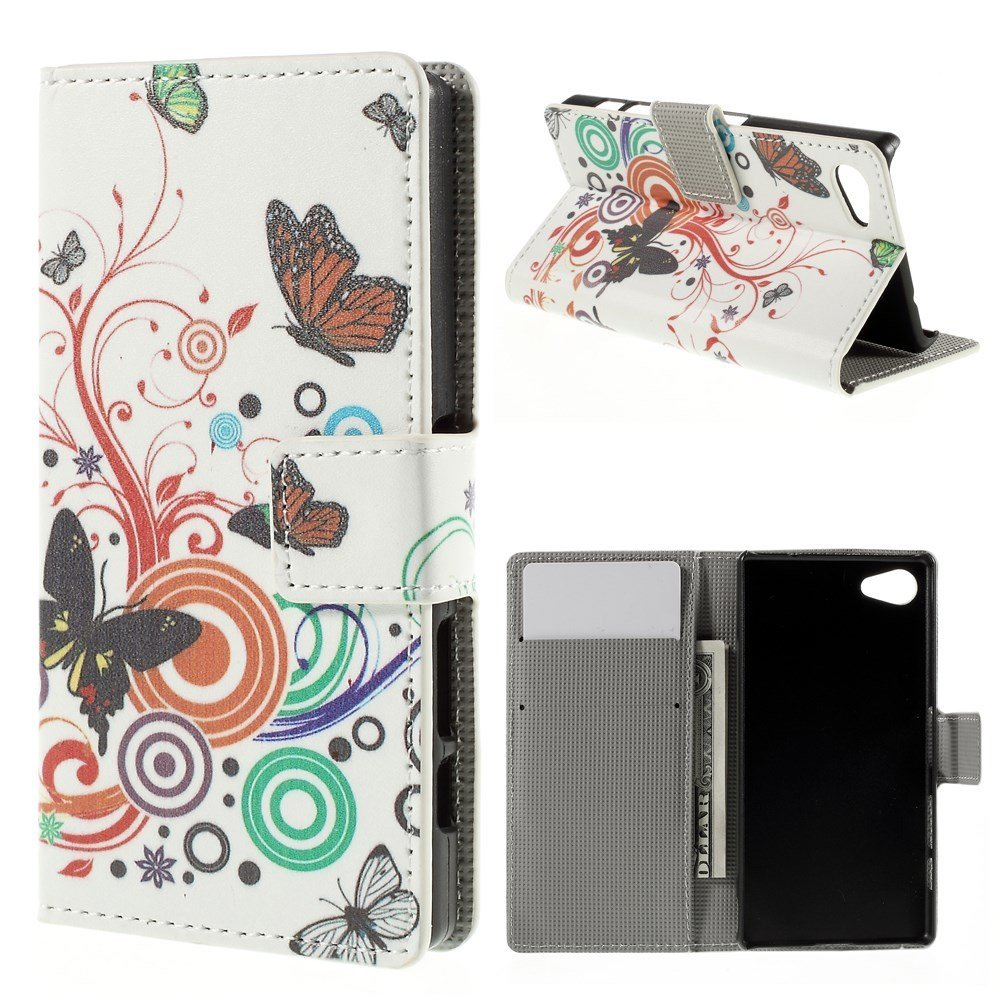 Billede af Sony Xperia Z5 Compact Design Flip Cover m. Pung - Butterfly Circles