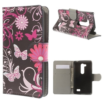 LG L Fino FlipStand Taske/Etui - Butterfly & Flower