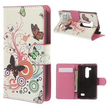 Image of LG L Fino FlipStand Taske/Etui - Butterfly & Circle