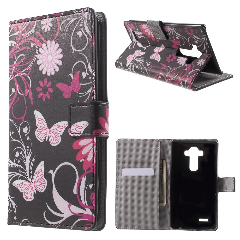 Image of   LG G4 Smart Flip Cover m. Pung & Stand - Butterfly Flowers