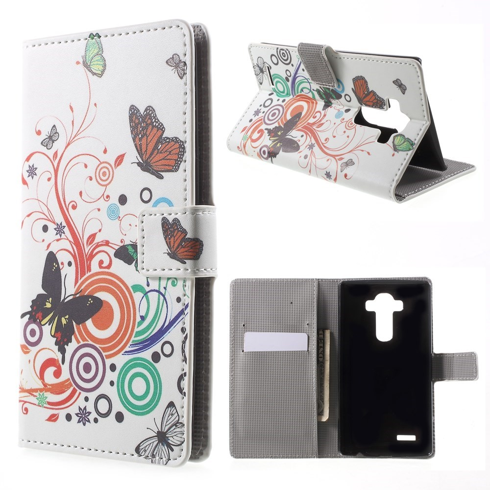 Image of   LG G4 Smart Flip Cover m. Pung & Stand - Butterfly Circles