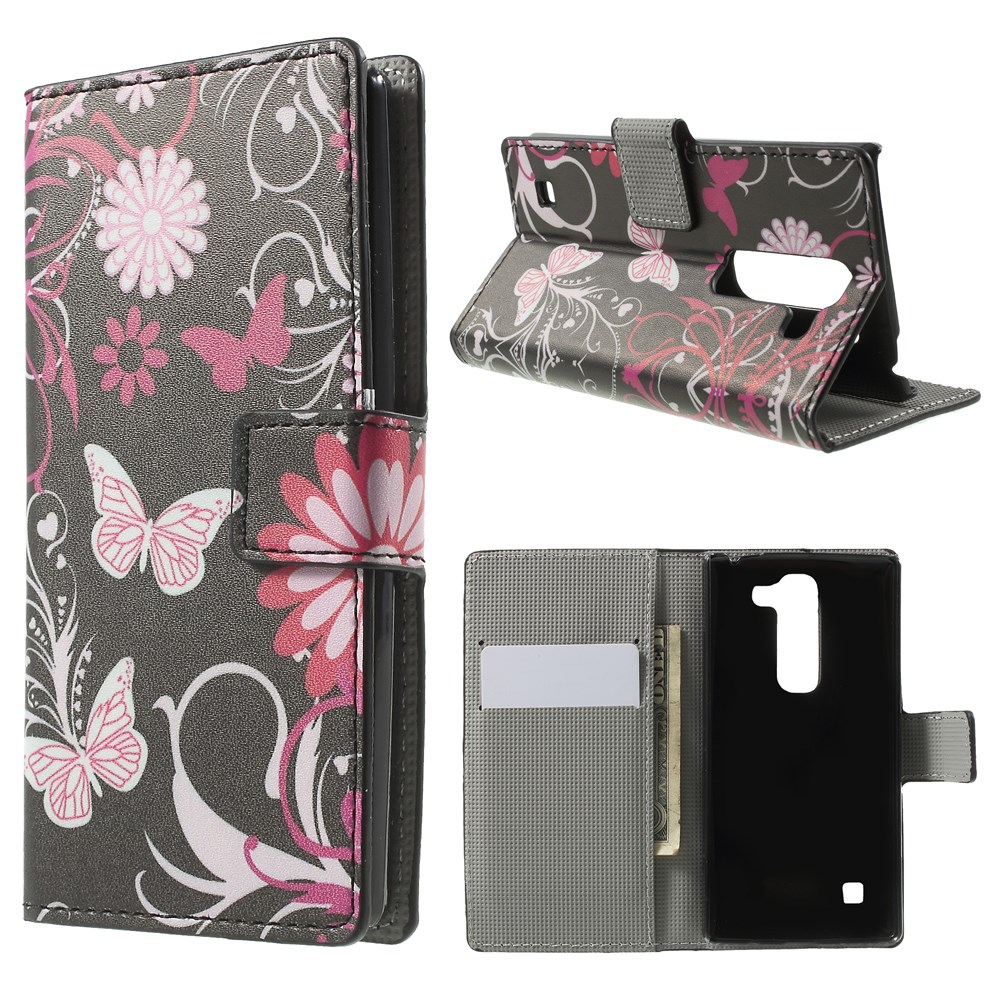 Image of LG Spirit Design Flip Cover m. Stand & Pung - Black Butterfly