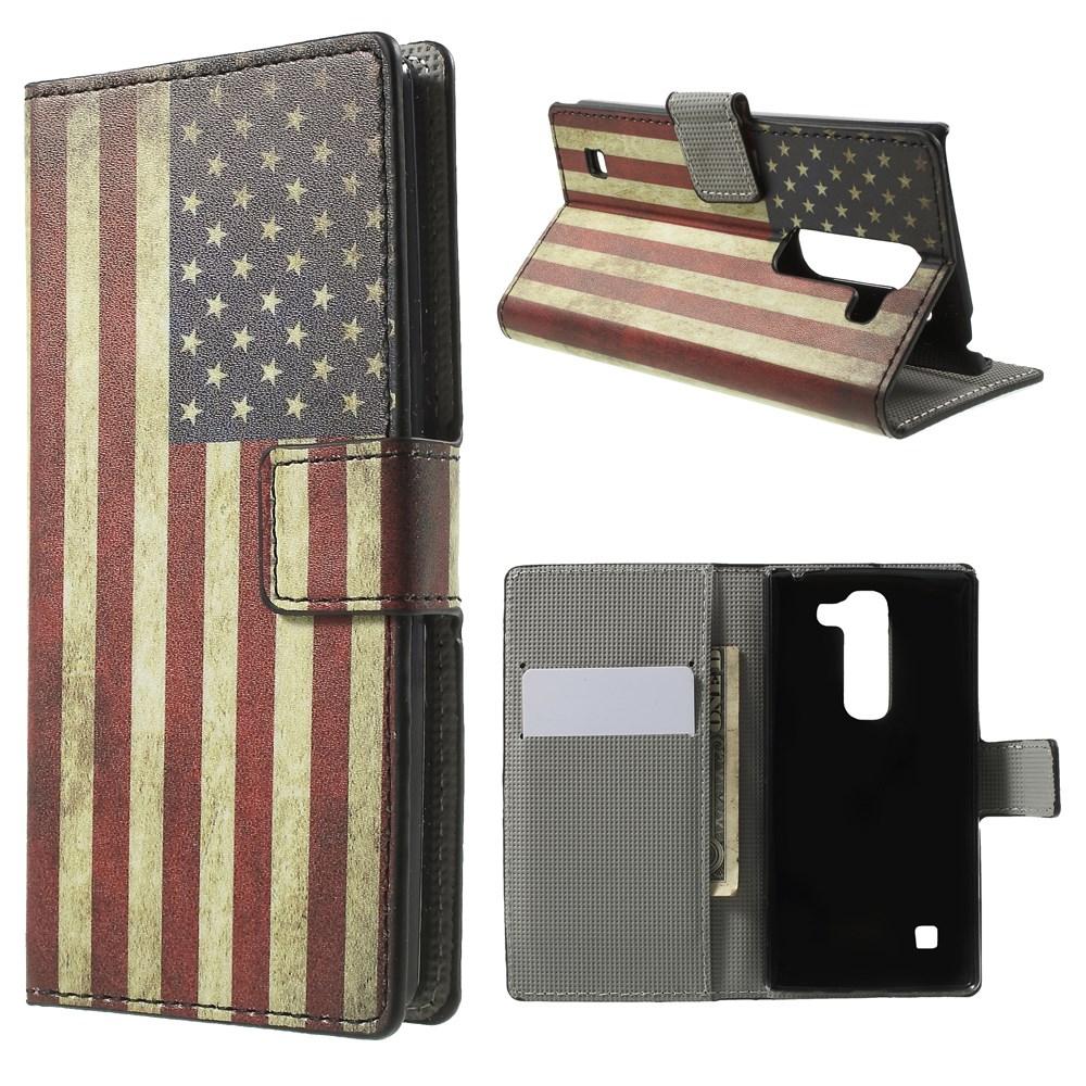 Billede af LG Spirit Design Flip Cover m. Stand & Pung - Stars & Stripes