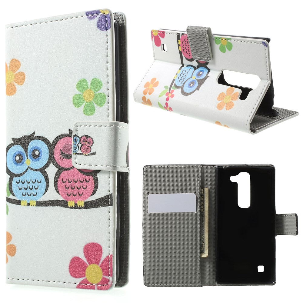 Image of LG Spirit Design Flip Cover m. Stand & Pung - Owl Couple