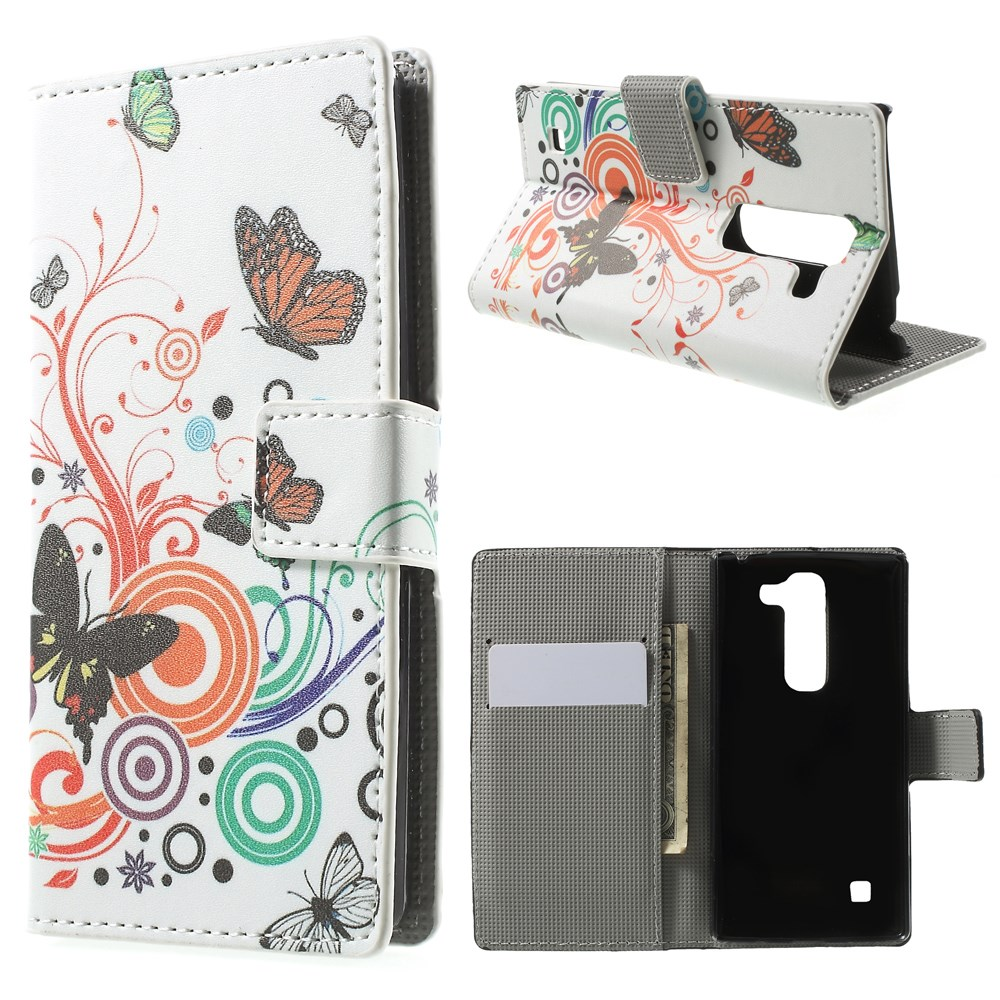 Image of LG Spirit Design Flip Cover m. Stand & Pung - Butterly Circles