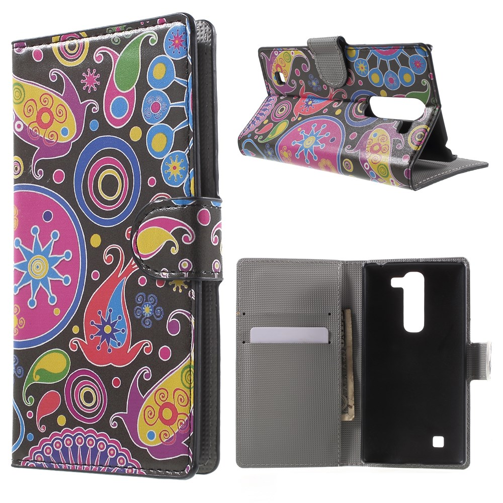 Image of LG G4c Design Flip Cover m. Stand - Paisley Flowers