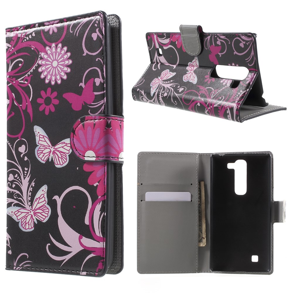 Image of LG G4c Design Flip Cover m. Stand - Butterfly Flowers