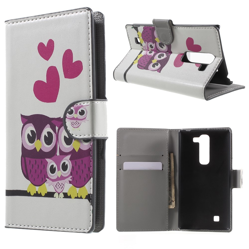 Image of LG G4c Design Flip Cover m. Stand - Owl Couple