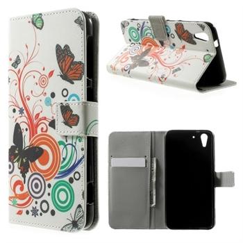 Image of HTC Desire Eye Design Flip Cover Med Pung - Vivid Butterfly