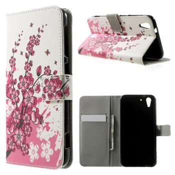 Image of HTC Desire Eye Design Flip Cover Med Pung - Plum Blossom