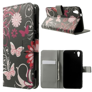 Image of HTC Desire Eye Design Flip Cover Med Pung - Butterfly Flowers