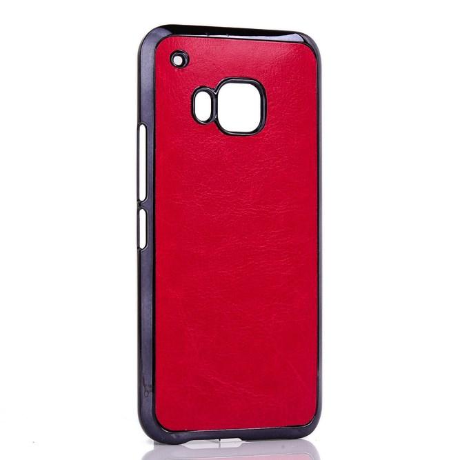 Billede af HTC One M9 Læderbeklædt Cover i Plastik - Rød