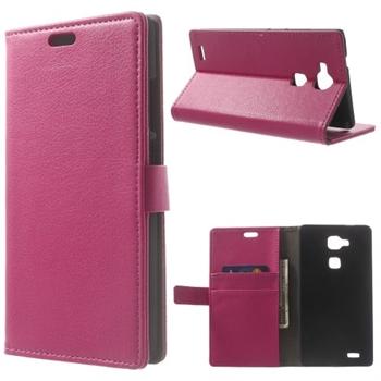 Image of Huawei Ascend Mate7 Litchi Flip Cover Med Pung - Rosa