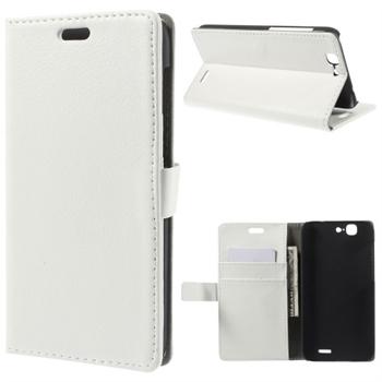 Image of Huawei Ascend G7 Litchi Flip Cover Med Pung - Hvid