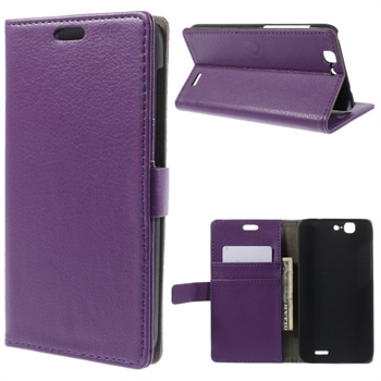 Image of Huawei Ascend G7 Litchi Flip Cover Med Pung - Lilla