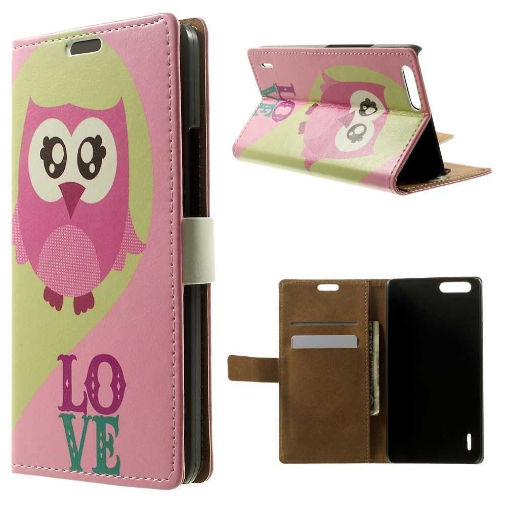 Image of Huawei Honor 6 Plus Design Flip Cover m. Stand - Owl & Love
