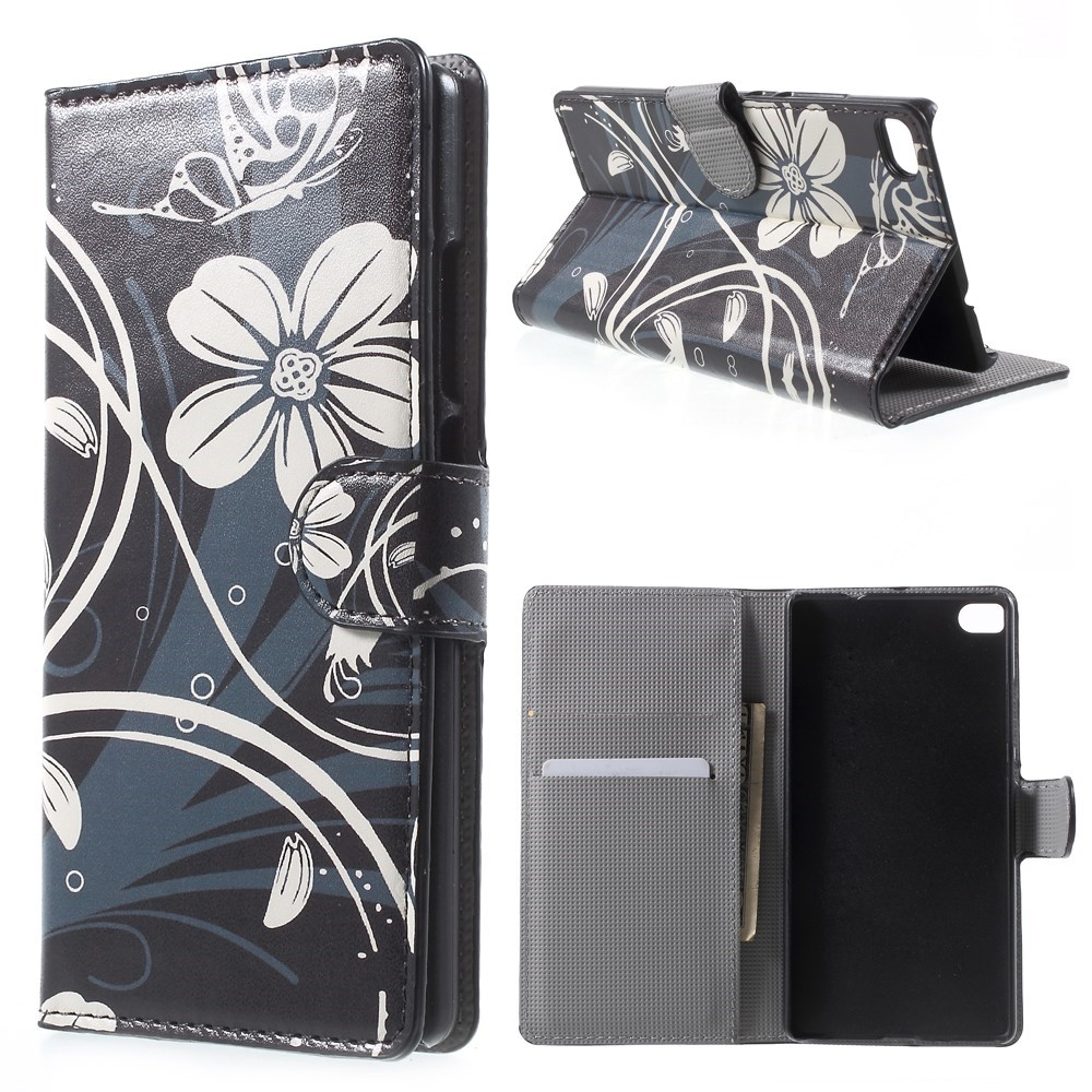 Image of Huawei Ascend P8 Smart Flip Cover m. Stand - Black Flowers