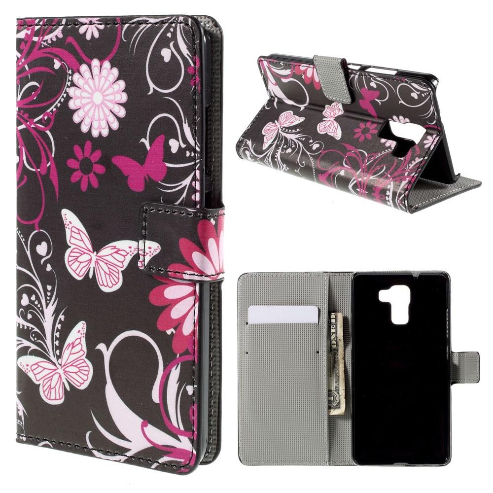 Billede af Huawei Honor 7 Design Flip Cover m. Stand - Black Butterflies