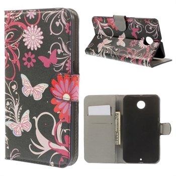 Billede af Nexus 6 Design Flip Cover Med Pung - Butterfly Flowers