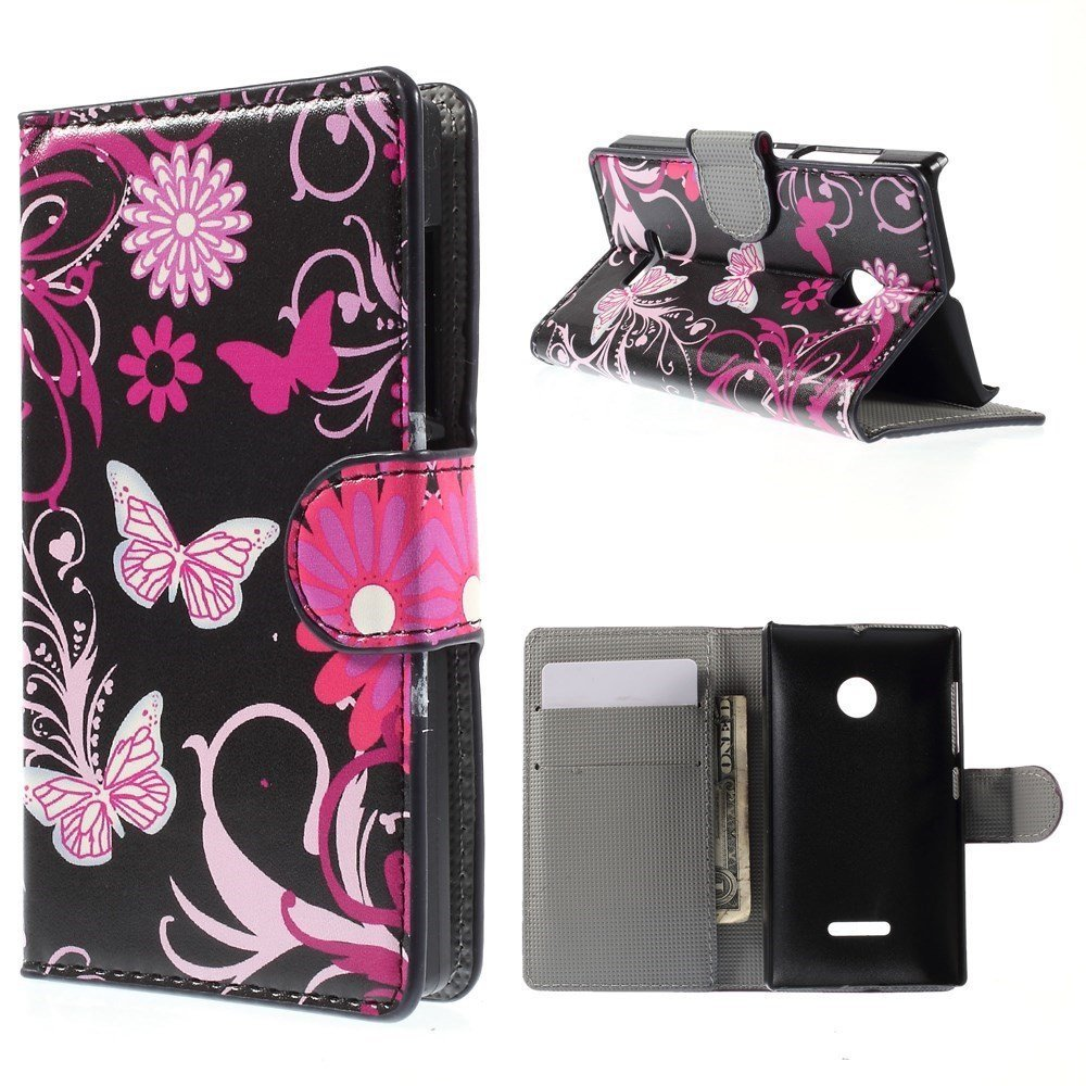 Image of Microsoft Lumia 532 Design Flip Cover - Butterfly Flowers