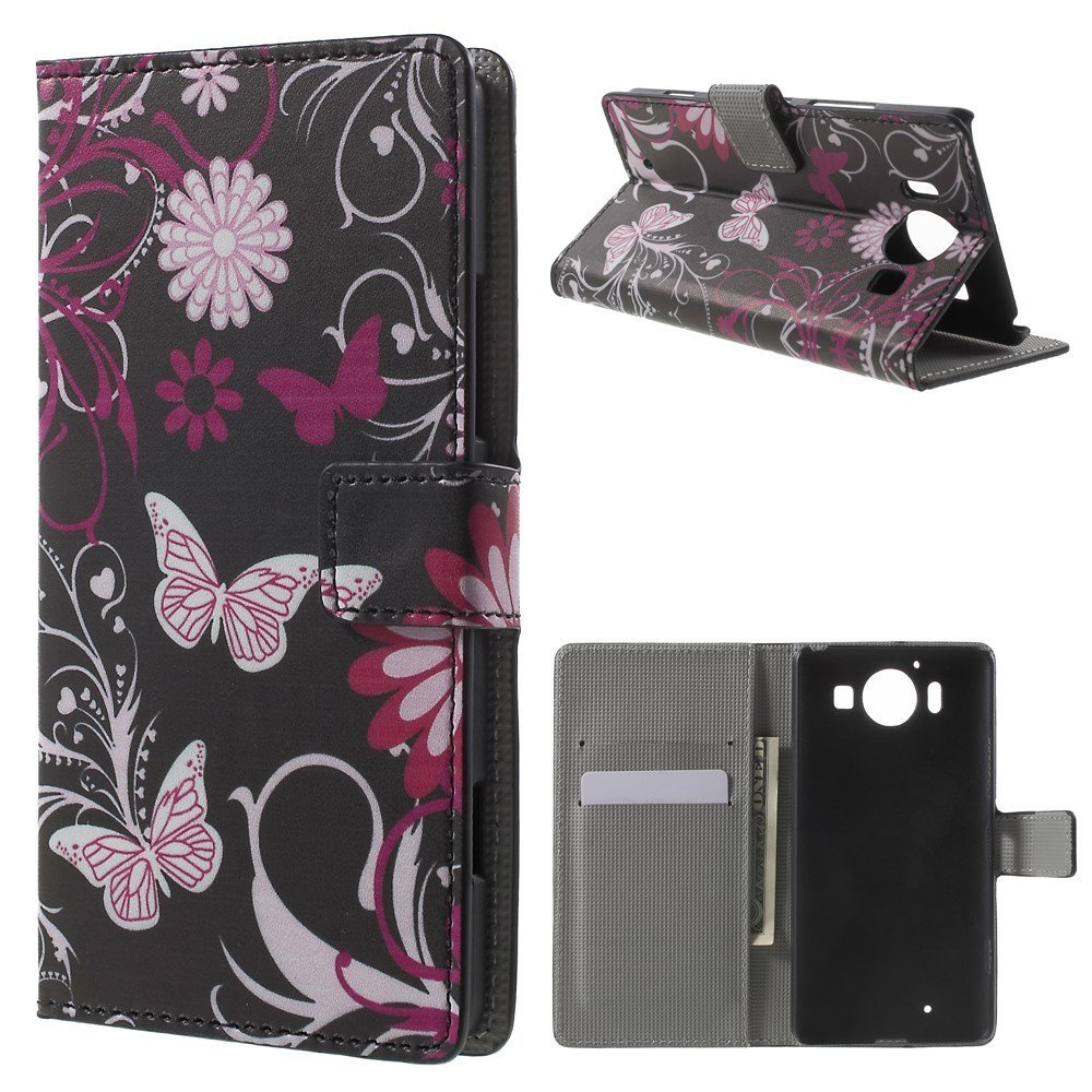 Billede af Microsoft Lumia 950 inCover Design Flip Cover m. Stand - Butterfly Flowers