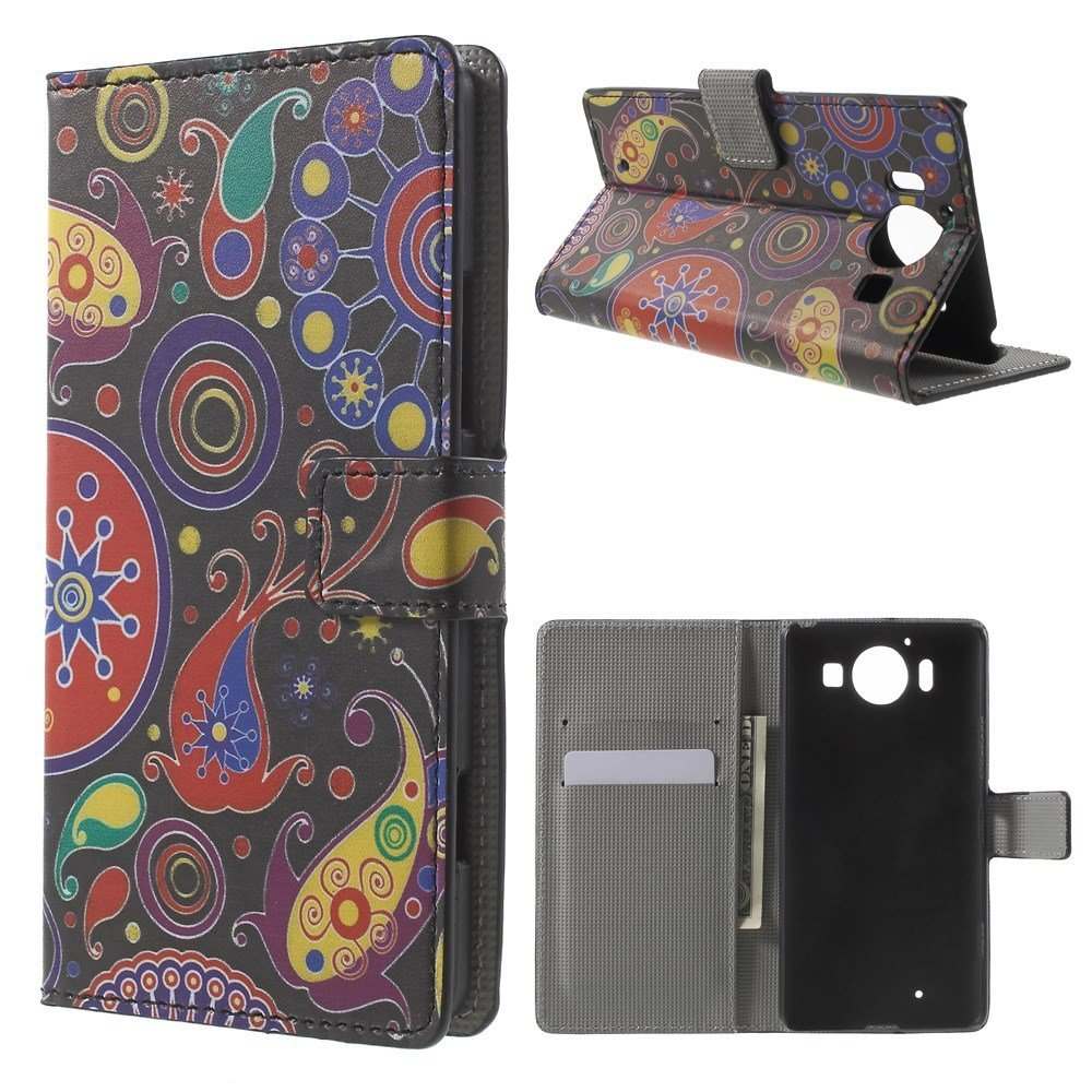 Image of Microsoft Lumia 950 inCover Design Flip Cover m. Stand - Paisley Flowers