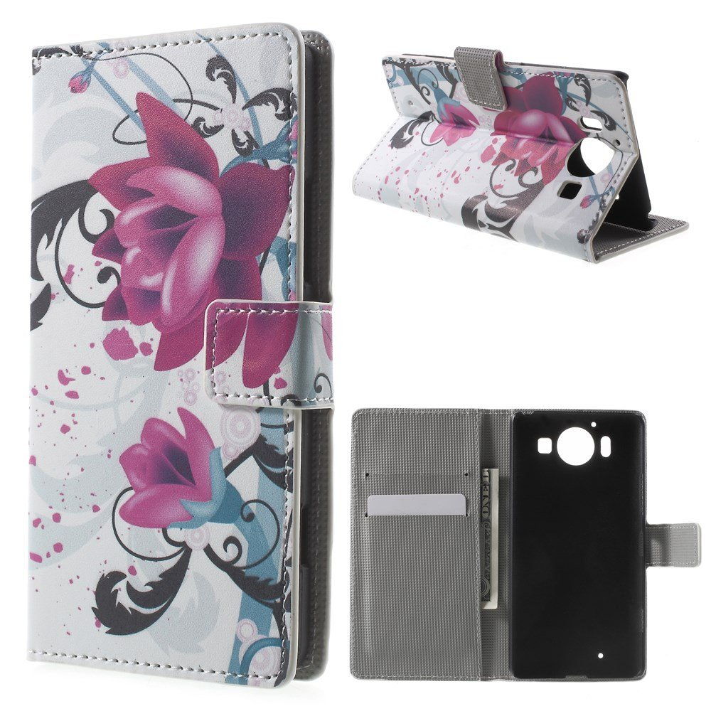 Image of Microsoft Lumia 950 inCover Design Flip Cover m. Stand - Purple Flowers