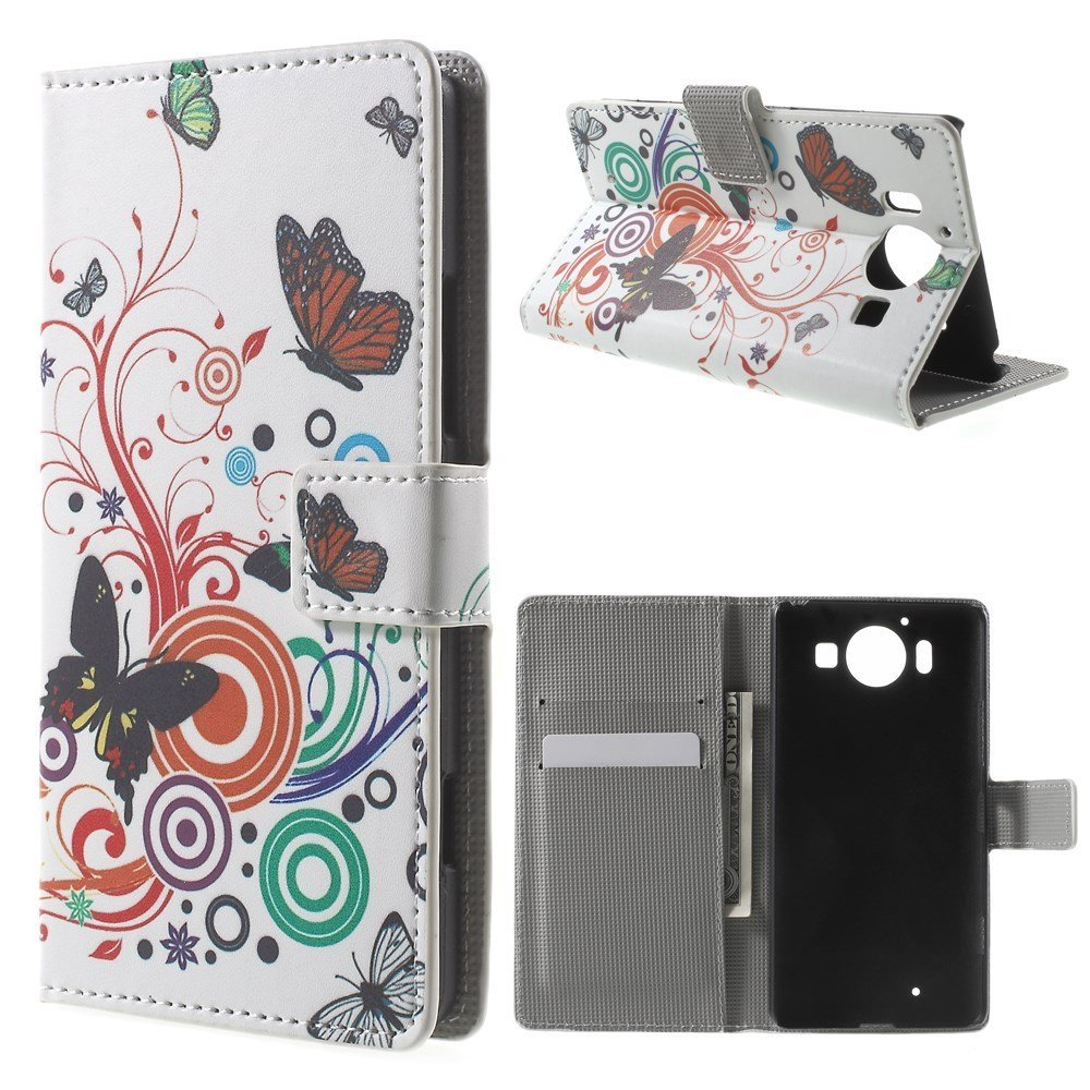 Image of Microsoft Lumia 950 inCover Design Flip Cover m. Stand - Butterfly Circles