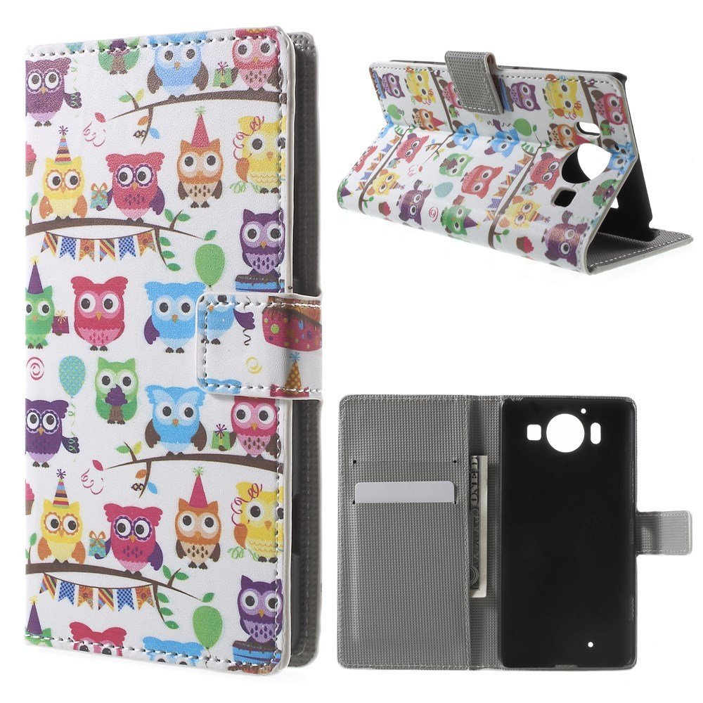 Image of Microsoft Lumia 950 inCover Design Flip Cover m. Stand - Multiple Owls