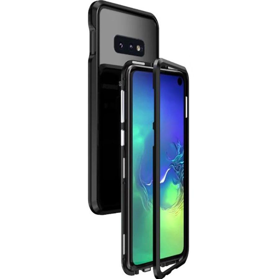 Image of   Samsung Galaxy S10e LUPHIE Magnetisk Cover m. Glasbagside - Sort