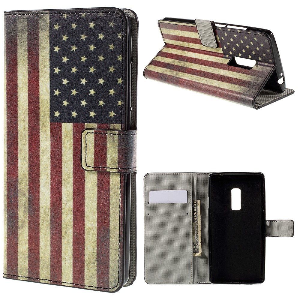 OnePlus 2 Design Flip Cover Med Pung - Retro American Flag