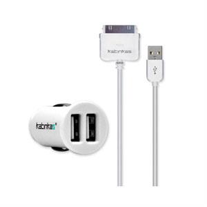 Billader med dobbelt USB stik og iPhone kabel fra Katinkas - hvid