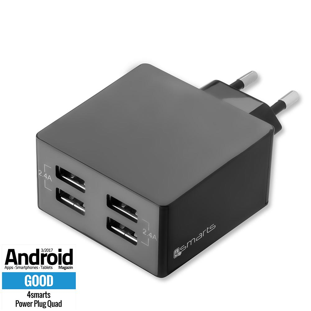 Image of 4Smarts Powerplug Vægoplader 24W | 4 x USB-A | Sort