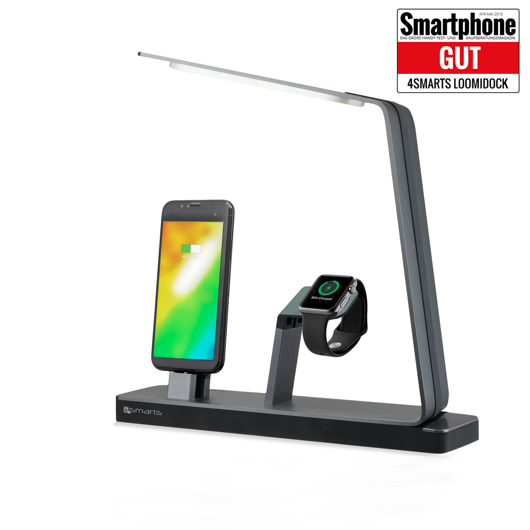 Image of   4smarts LoomiDock Charging Station w. LED Lamp For Apple Devices Sort / Sølv