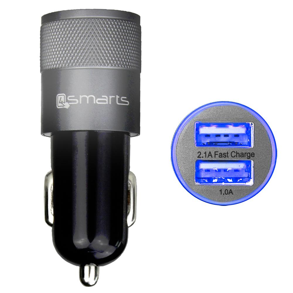 Image of   4smarts Hybrid 15W Biloplader m. USB-A - Sølv/Sort