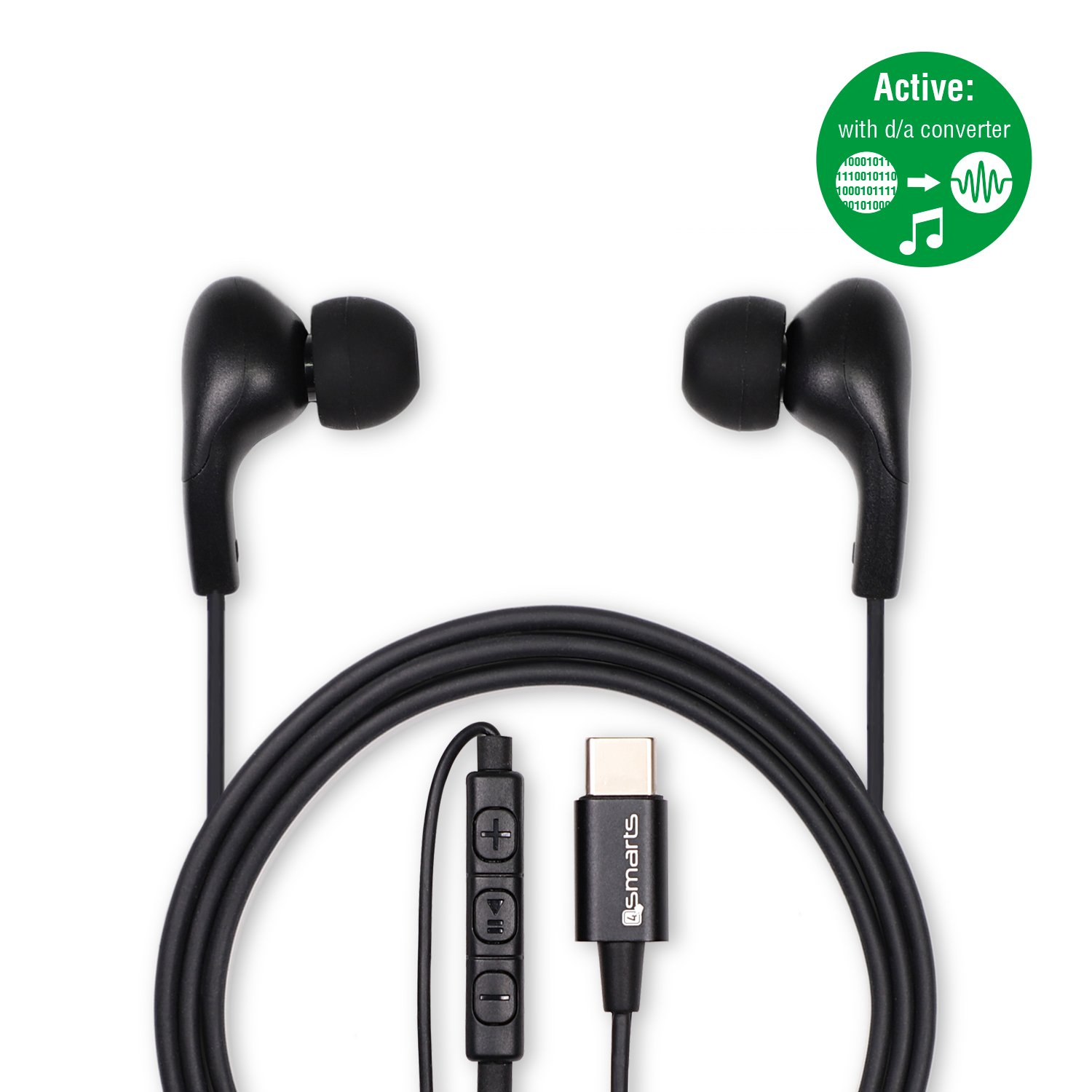 Image of   4smarts In-Ear Stereo Headset Melody m. USB-C (Active) - Sort